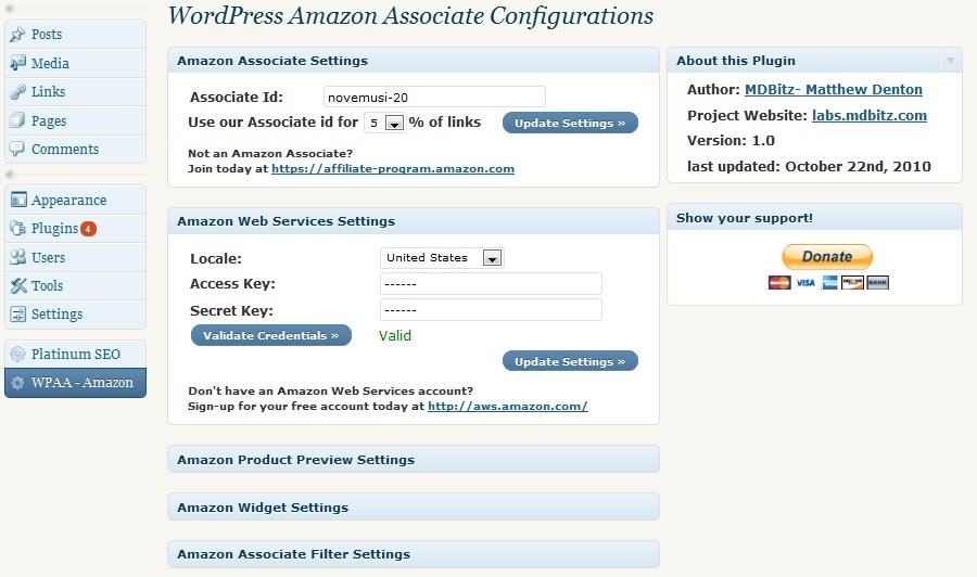 Admin Panel of WPAA - Amazon plugin